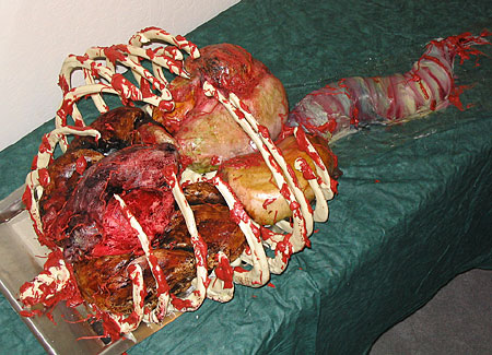 a cake that looks like a disemboweled human chest cavity... what more could you want?